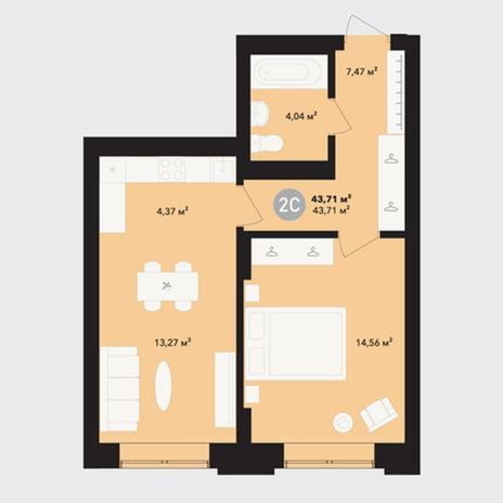 Вариант №5224, 2-комнатная квартира в жилом комплексе