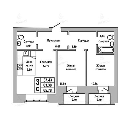 Вариант №1019, 3-комнатная квартира в жилом комплексе ГринАрт