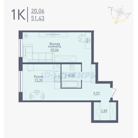 Вариант №4770, 1-комнатная квартира в жилом комплексе
