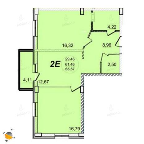 Вариант №1395, 2-комнатная квартира в жилом комплексе РэдФокс