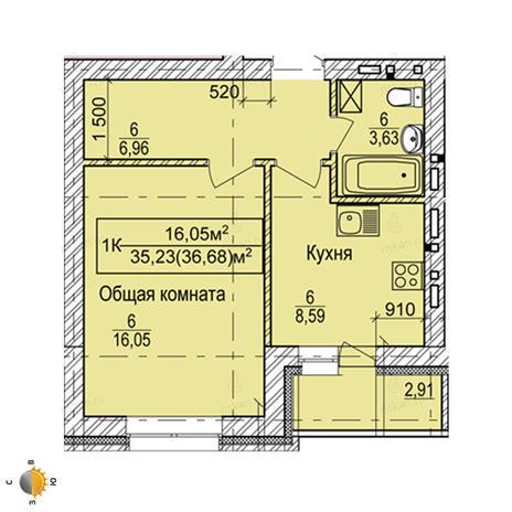 Вариант №2257, 1-комнатная квартира в жилом комплексе