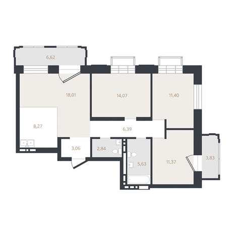 Вариант №3327, 4-комнатная квартира в жилом комплексе Европейский Берег