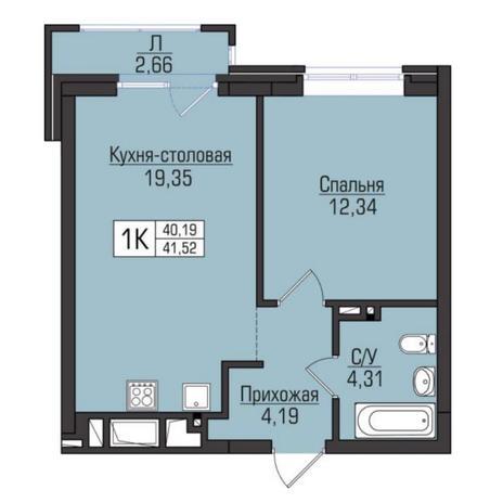 Вариант №5083, 2-комнатная квартира в жилом комплексе Цивилизация