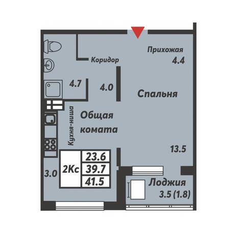 Вариант №3698, 2-комнатная квартира в жилом комплексе Галактика
