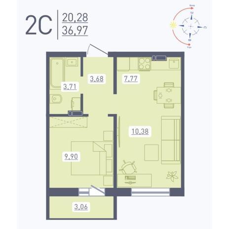 Вариант №5561, 2-комнатная квартира в жилом комплексе