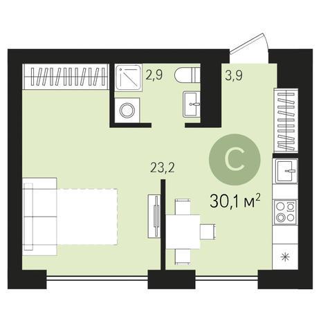 Вариант №3442, 1-комнатная квартира в жилом комплексе Дунаевский