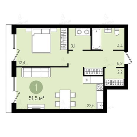 Вариант №2615, 2-комнатная квартира в жилом комплексе Квартал на Никитина