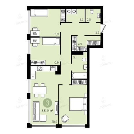 Вариант №2600, 3-комнатная квартира в жилом комплексе Квартал на Никитина