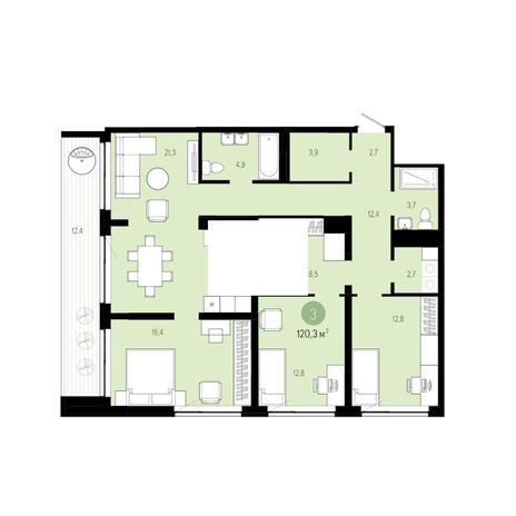 Вариант №6270, 4-комнатная квартира в жилом комплексе