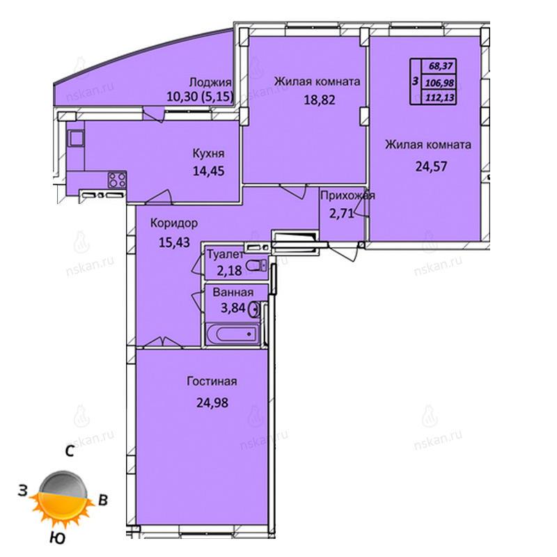 Планировка 4-комн. студия площадью 112.13 м<sup>2</sup> в ЖК Тихвинский квартал