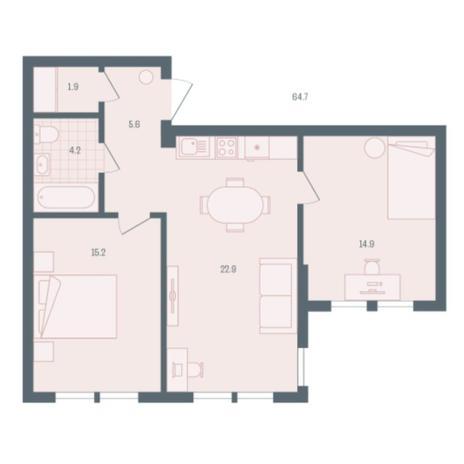 Вариант №5892, 2-комнатная квартира в жилом комплексе