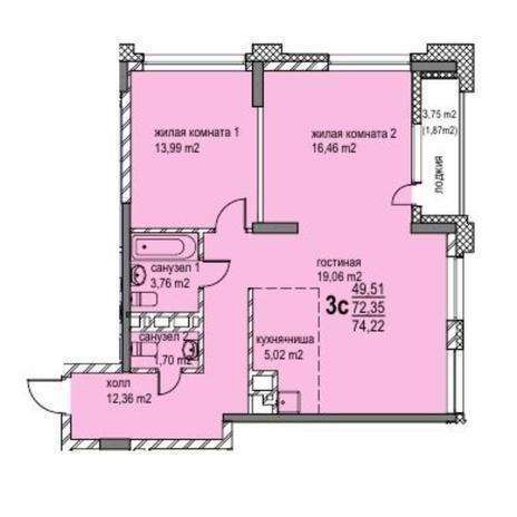 Вариант №6053, 3-комнатная квартира в жилом комплексе