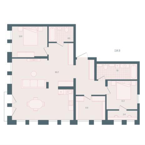Вариант №5945, 3-комнатная квартира в жилом комплексе