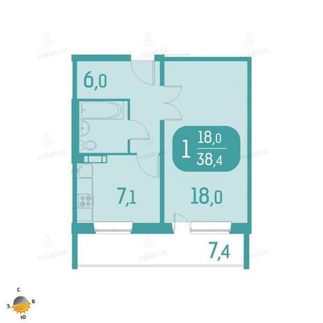 Вариант №2330, 1-комнатная квартира в жилом комплексе Аквамарин