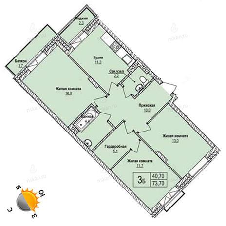 Вариант №1246, 3-комнатная квартира в жилом комплексе Эволюция