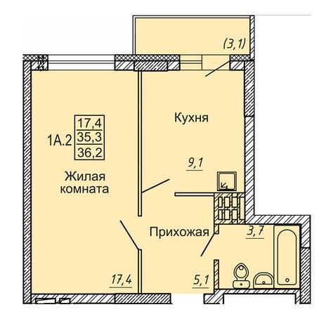 Вариант №4121, 1-комнатная квартира в жилом комплексе Новые Матрешки