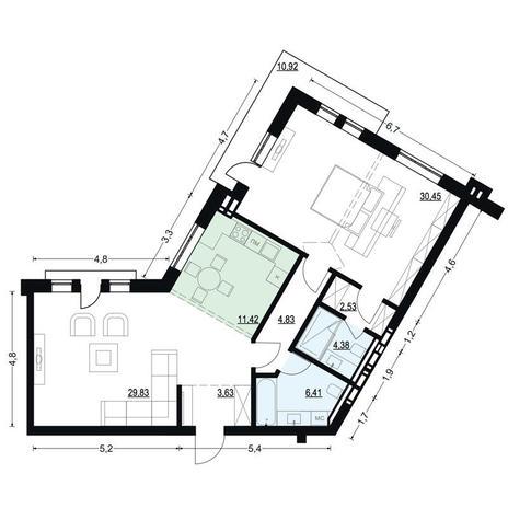 Вариант №2705, 2-комнатная квартира в жилом комплексе Жуковка