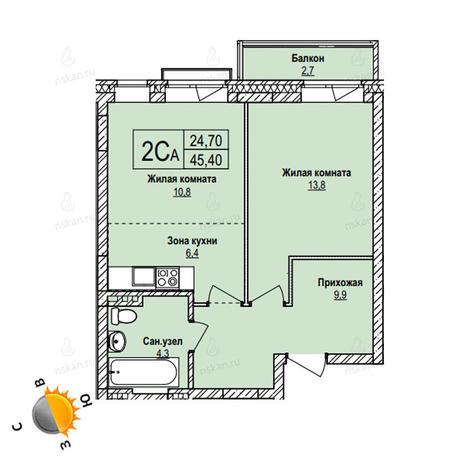 Вариант №1103, 2-комнатная квартира в жилом комплексе Эволюция