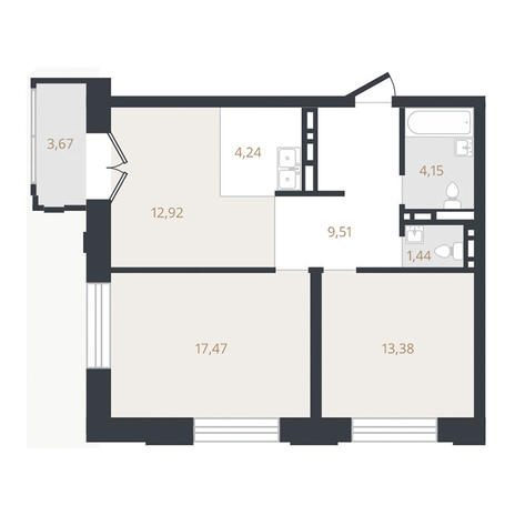 Вариант №3323, 3-комнатная квартира в жилом комплексе