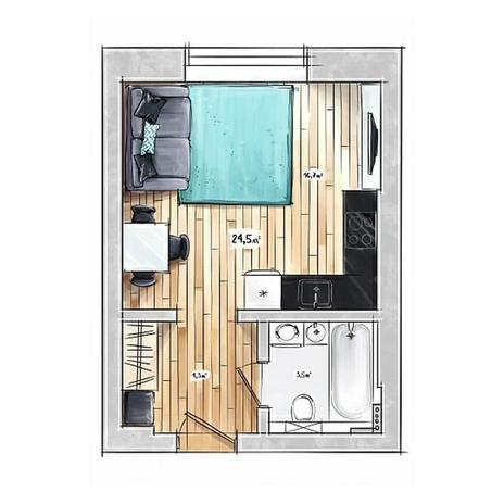 Вариант №3955, 1-комнатная квартира в жилом комплексе БонАпарт