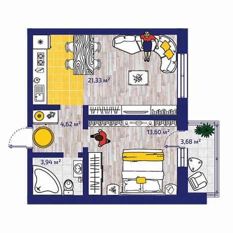 Вариант №4376, 2-комнатная квартира в жилом комплексе