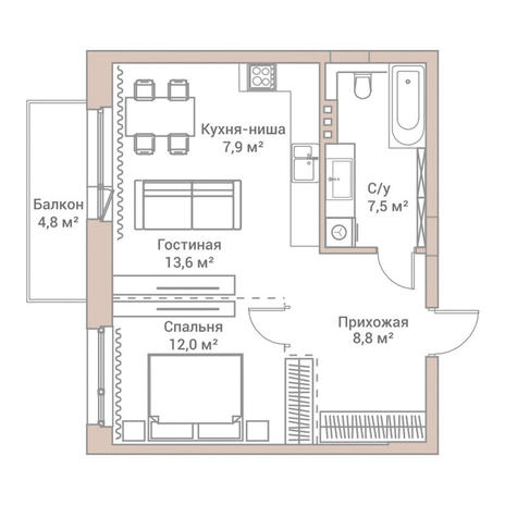 Вариант №3579, 2-комнатная квартира в жилом комплексе Flora & Fauna