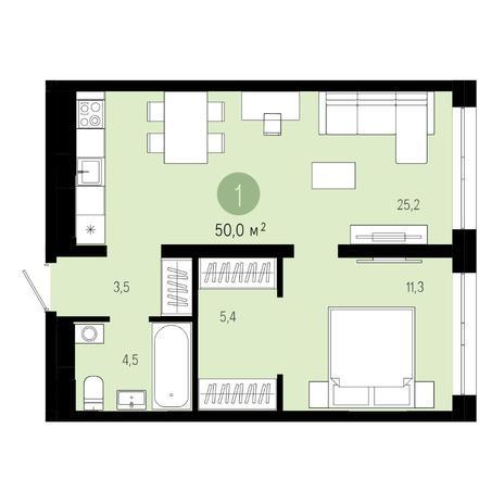 Вариант №4844, 2-комнатная квартира в жилом комплексе Европейский Берег