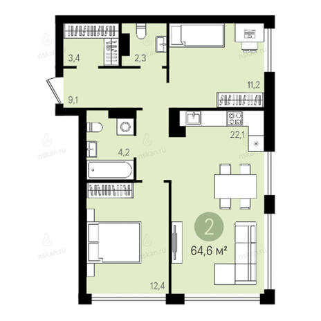 Вариант №2601, 3-комнатная квартира в жилом комплексе Квартал на Никитина