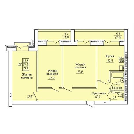 Вариант №4309, 3-комнатная квартира в жилом комплексе Свобода
