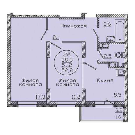 Вариант №3184, 2-комнатная квартира в жилом комплексе Дунаевский