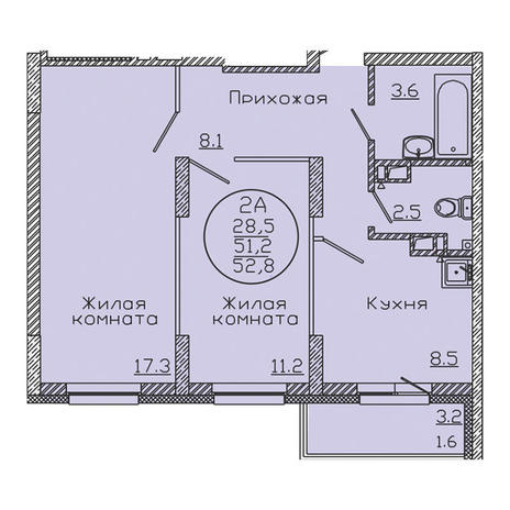 Вариант №3184, 2-комнатная квартира в жилом комплексе