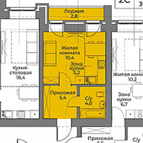 Вариант №3966, 1-комнатная квартира в жилом комплексе Акварельный 3.0