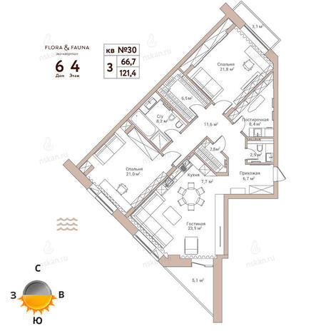 Вариант №374, 3-комнатная квартира в жилом комплексе