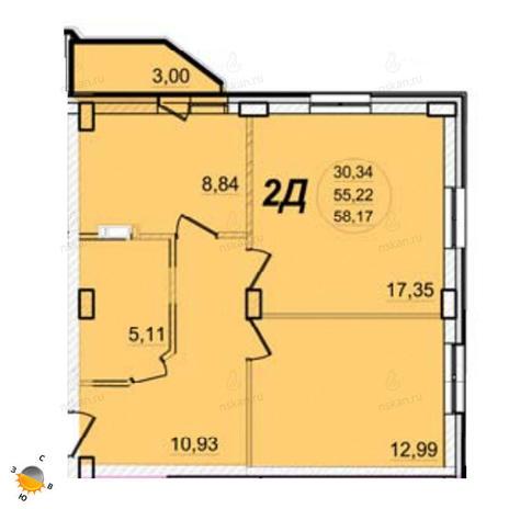 Вариант №1390, 2-комнатная квартира в жилом комплексе РэдФокс