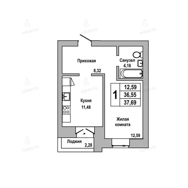 Планировка 1-комнатная площадью 37.69 м<sup>2</sup> в ЖК ГринАрт