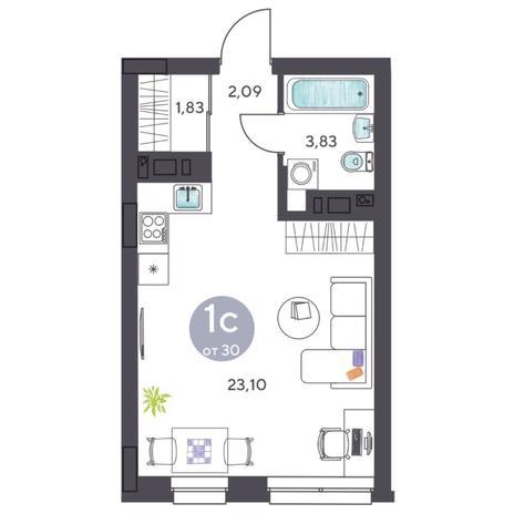 Вариант №5406, 1-комнатная квартира в жилом комплексе