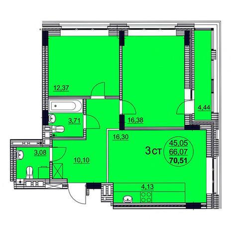Вариант №3761, 3-комнатная квартира в жилом комплексе