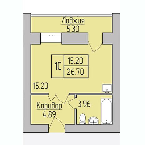 Вариант №3853, 1-комнатная квартира в жилом комплексе