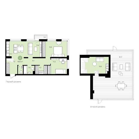 Вариант №5537, 4-комнатная квартира в жилом комплексе