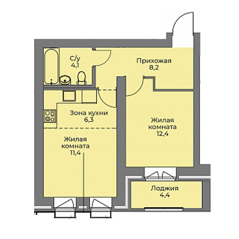 Планировка 2-комн. студия площадью 42.4 м<sup>2</sup> в ЖК Эскимо
