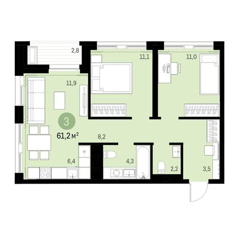 Вариант №6313, 3-комнатная квартира в жилом комплексе