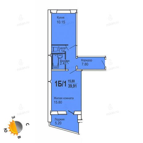 Вариант №728, 1-комнатная квартира в жилом комплексе Софийский квартал