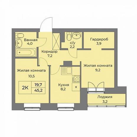 Вариант №5289, 1-комнатная квартира в жилом комплексе Ясный берег