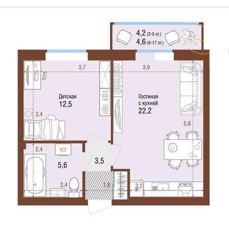 Вариант №4223, 2-комнатная квартира в жилом комплексе Грани