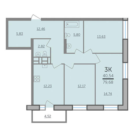 Вариант №2987, 3-комнатная квартира в жилом комплексе Европейский Берег