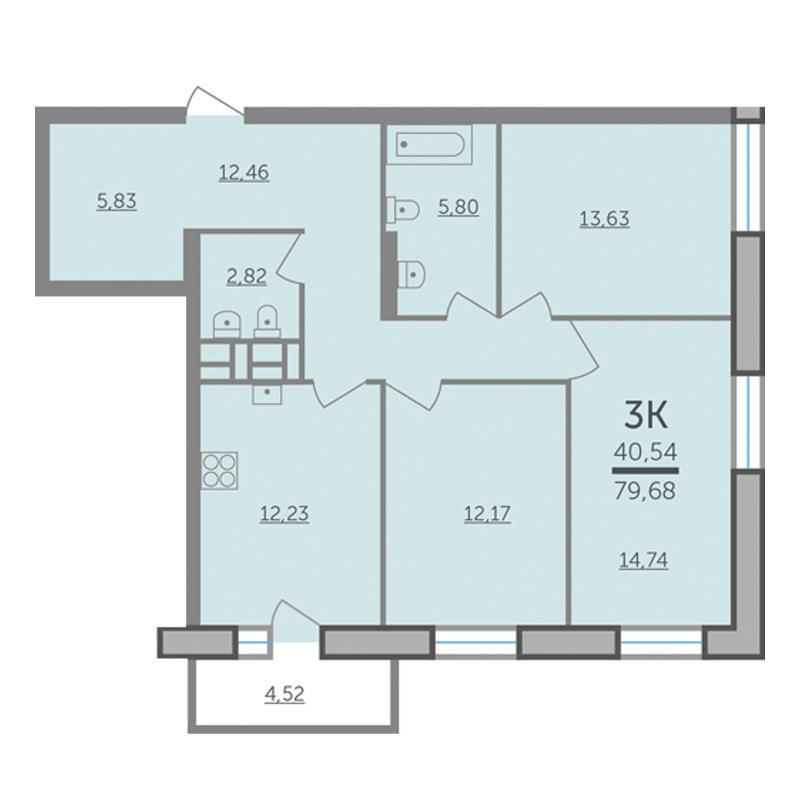 Планировка 3-комнатная площадью 79.68 м<sup>2</sup> в ЖК Оазис