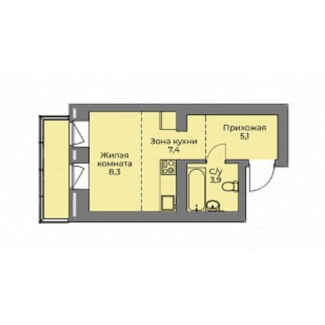 Вариант №4417, 1-комнатная квартира в жилом комплексе Эскимо