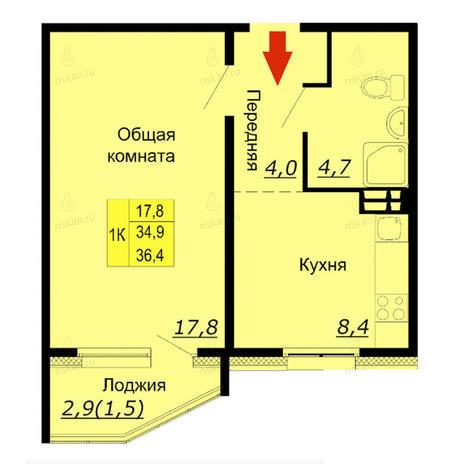 Вариант №2587, 1-комнатная квартира в жилом комплексе Мандарин