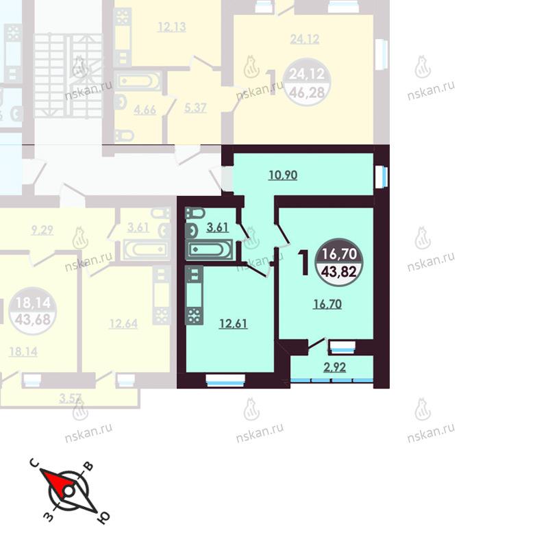 Планировка 1-комнатная площадью 43.82 м<sup>2</sup> в ЖК Ключевой