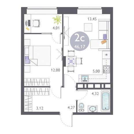 Вариант №3357, 2-комнатная квартира в жилом комплексе На Королева